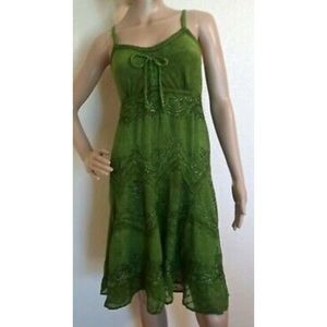 Sakkas Green Boho Hippie Dress Size S/M